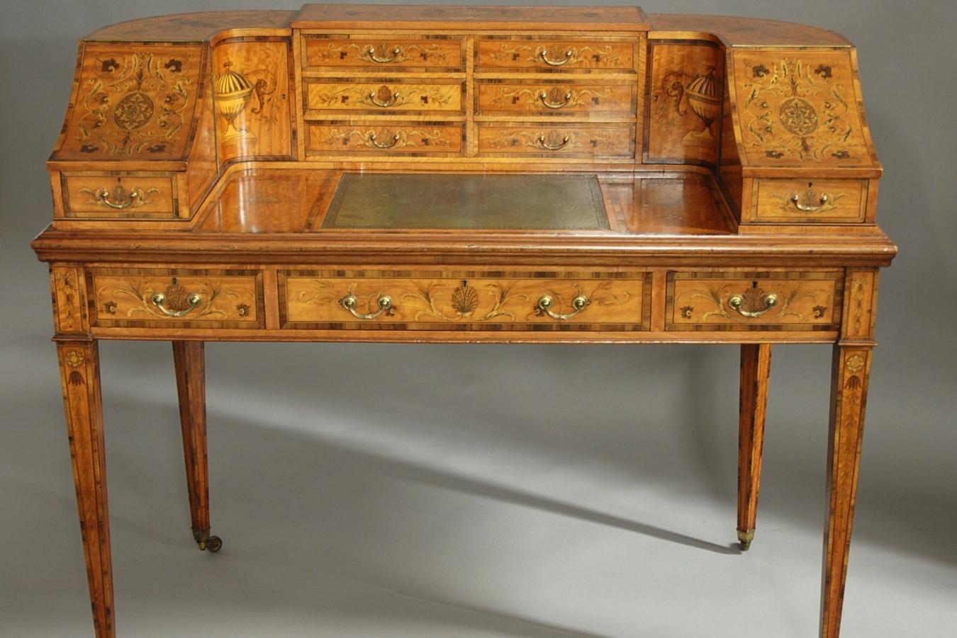 Satinwood Carlton House Desk ...
