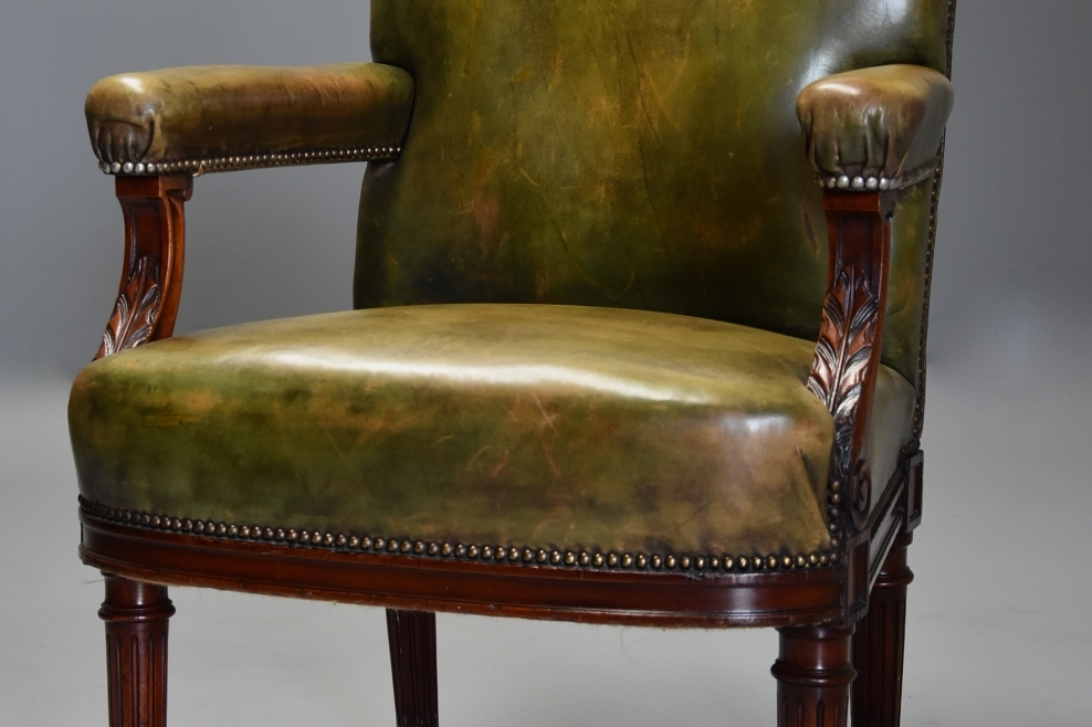 Mahogany Green Leather Chair; Mahogany Green Leather Chair ...