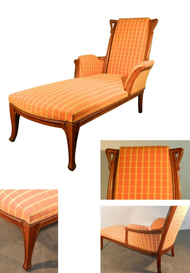 Long art nouveau oak ottoman trendfirst for Art nouveau chaise lounge