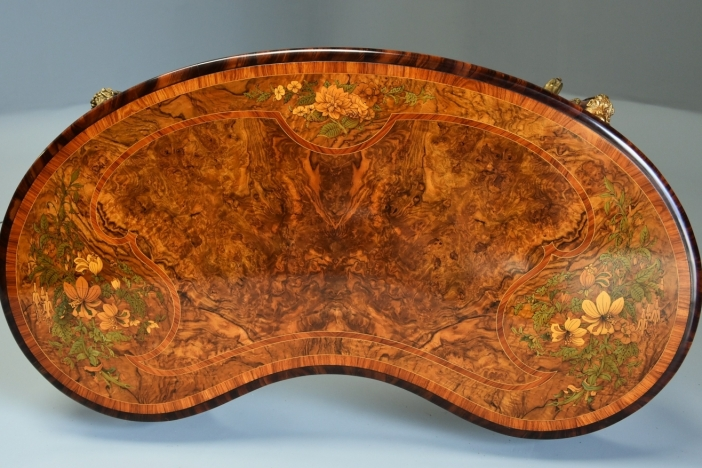 Walnut marquetry kidney table