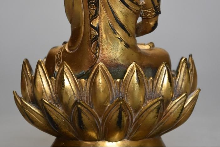 Gilt bronze Tibetan Buddha