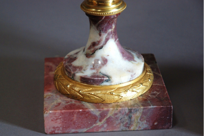 Pair superb marble cassolettes