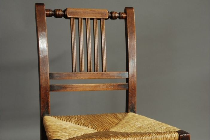 Set of six birch & rush chairs