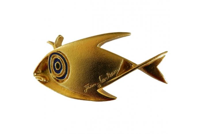 Jean Cocteau bronze broach