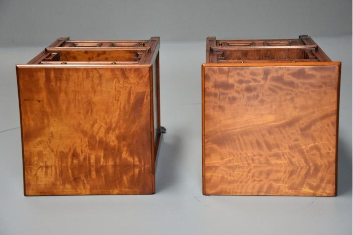 Pair of satin birch cabinets