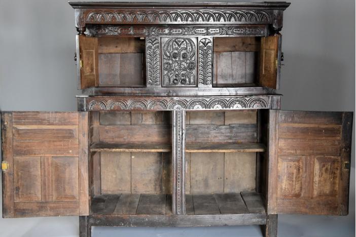 Mid 17thc oak press cupboard