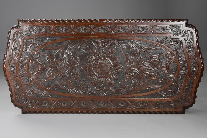 Carved mahogany centre table