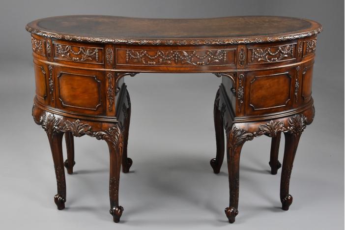 Edwardian mahogany kidney desk