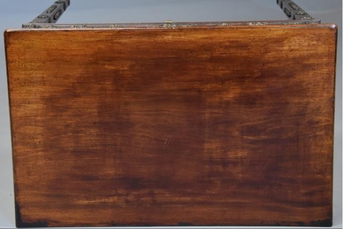 18thc mahogany & brass table