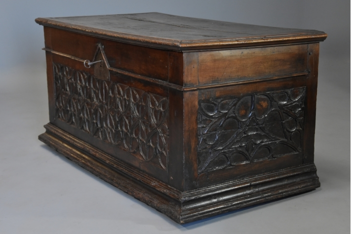 Early 16thc fruitwood coffer