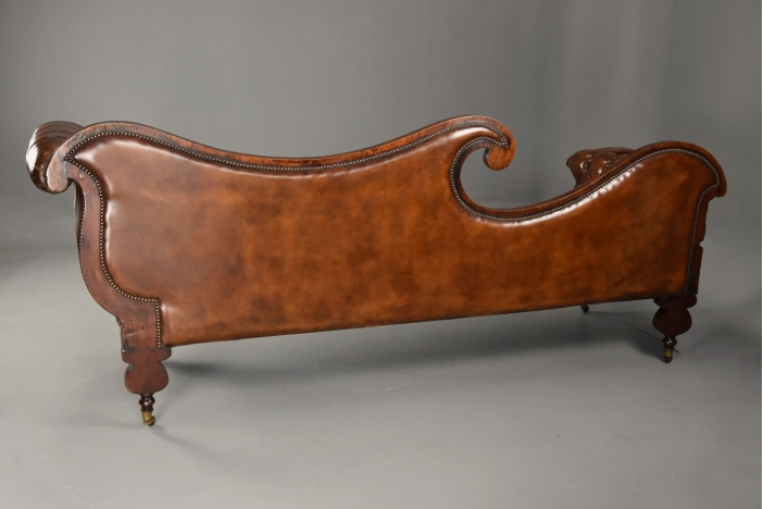 Regency mahogany leather sofa