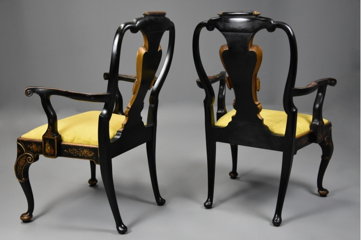 Pair of Japanned armchairs