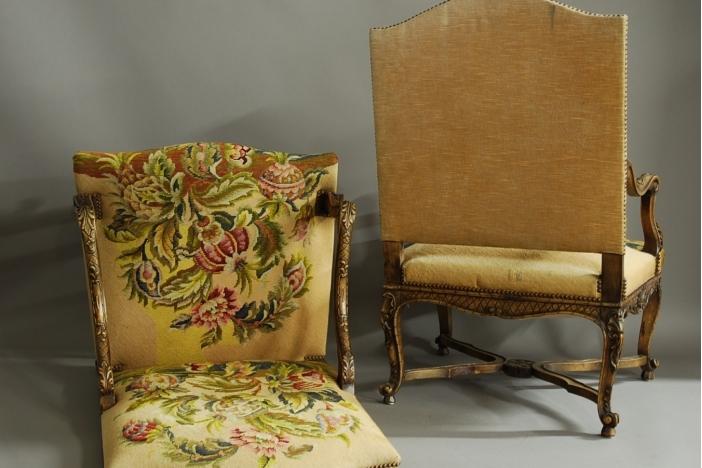 Pair French walnut fauteuils