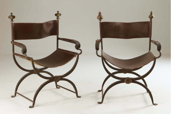 2 french iron armchairs