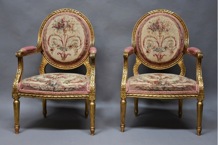Pair French giltwood armchairs