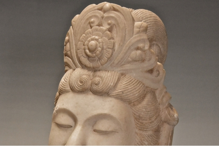18thc marble head of Guan Yin