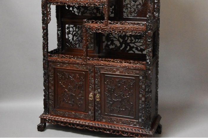 Chinese carved padouk cabinet