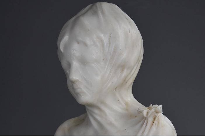 19thc marble veiled maiden