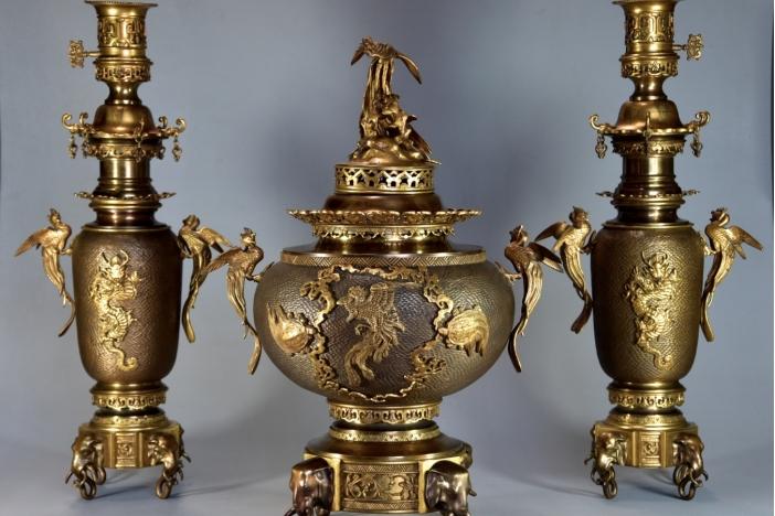 Set of 9 Antique Glazed Pots