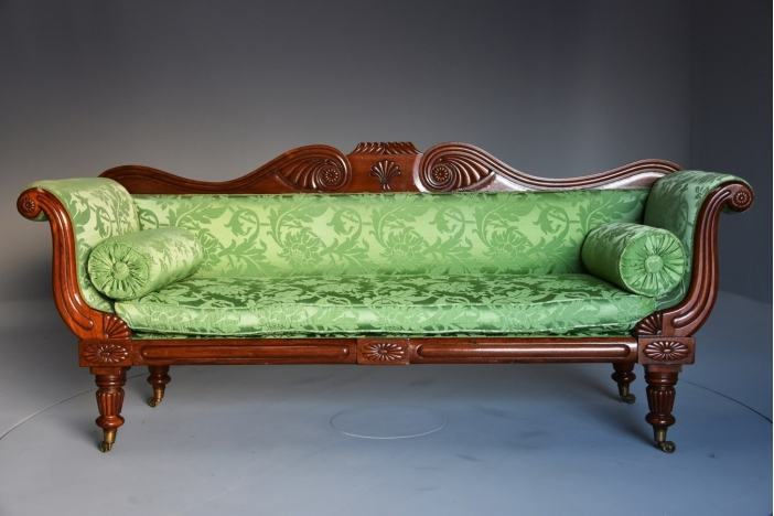 Regency scroll mahogany sofa