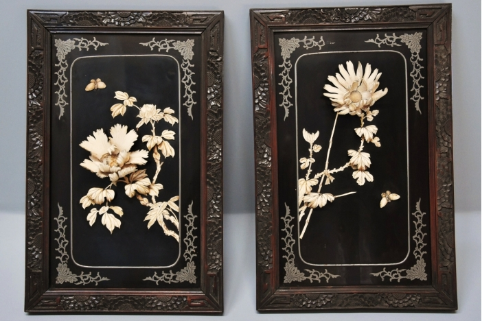 19thc black lacquered panels