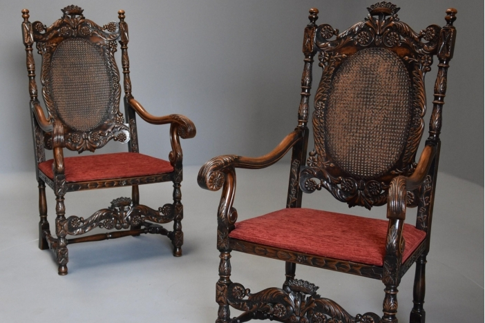 Pair Charles II style chairs