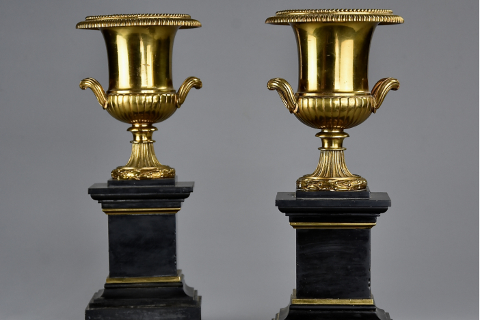 Pair of 19thc campana urns