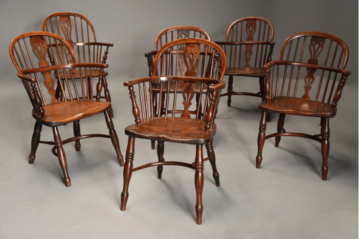 Set of six yew Windsor chairs