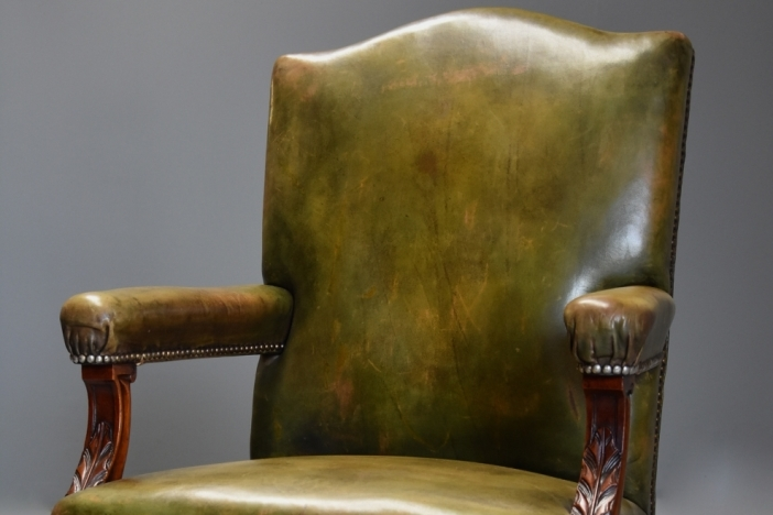 Mahogany green leather chair