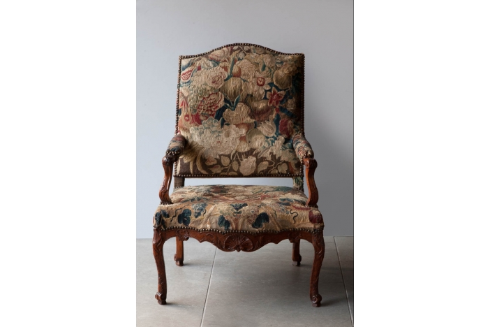 Pair Louis XV tapestry chairs