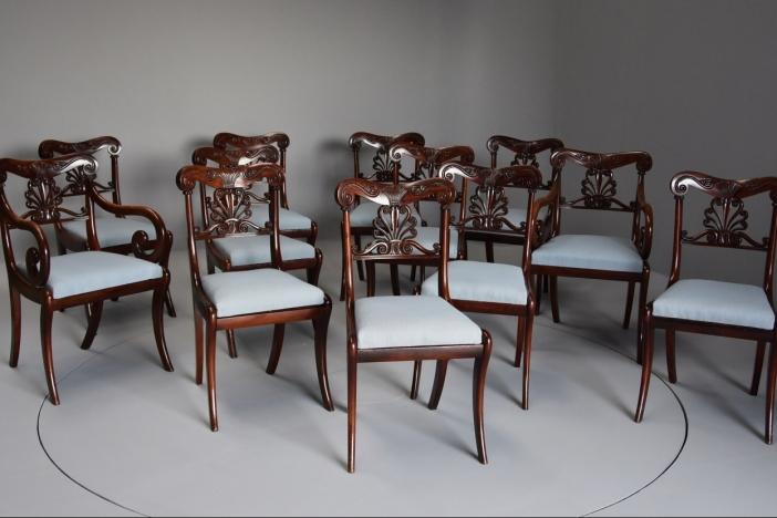 Set of twelve Regency chairs