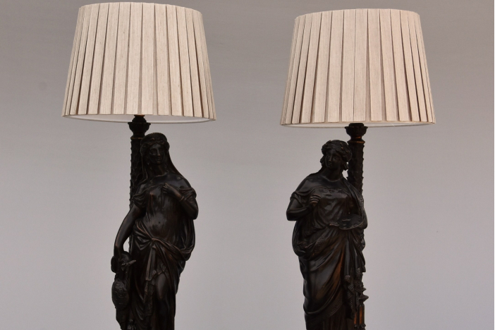 Bronze Grecian figure lamps