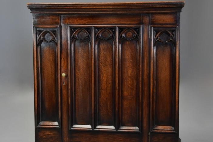 Gothic style oak cupboard