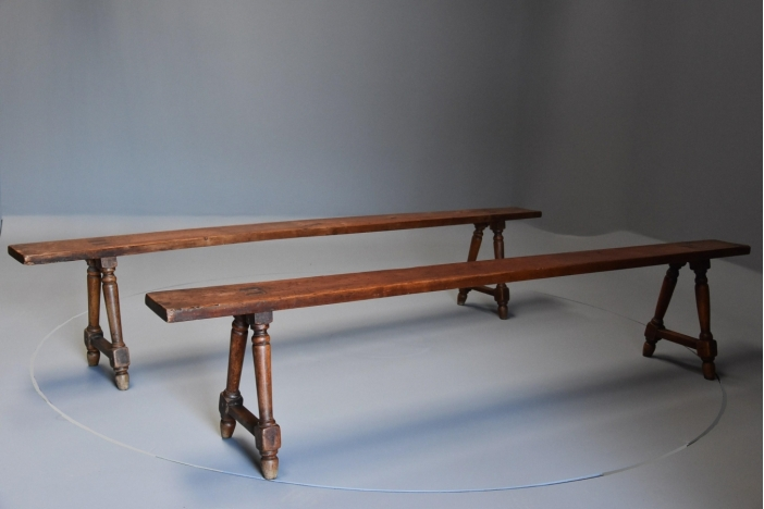Pair fruitwood benches