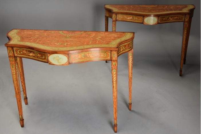 Pair satinwood console tables