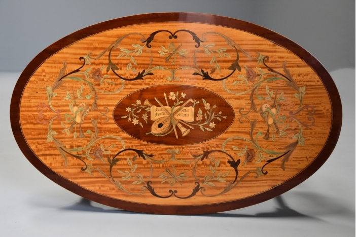 Oval satinwood coffee table