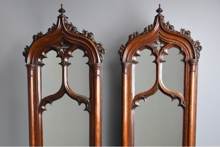 Fine pair of Gothic mirrors