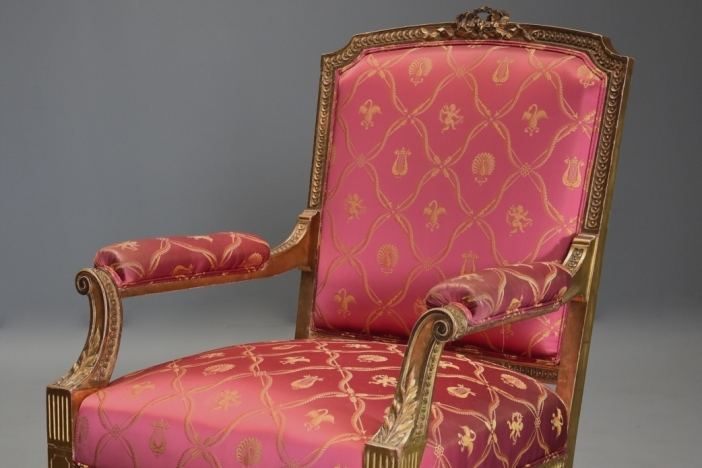 Large French giltwood fauteuil