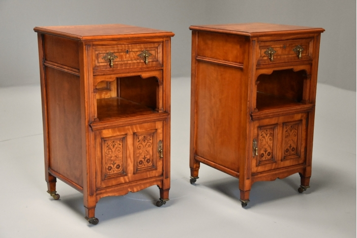 Pair of satin birch cabinets