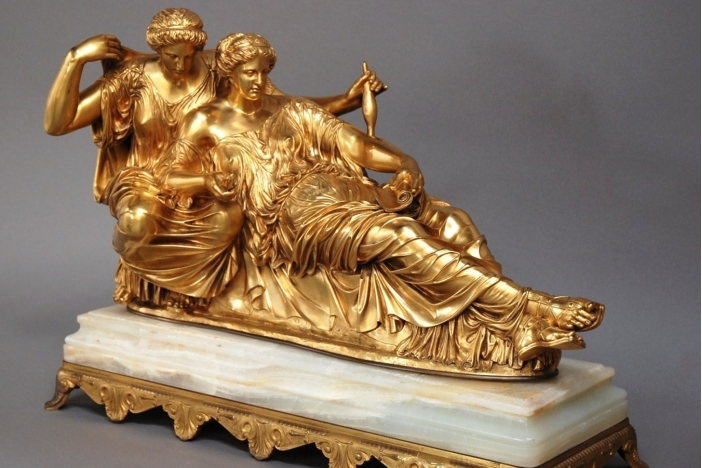 Large 19thc French gilt bronze
