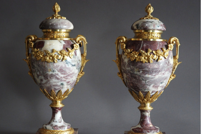 Pair superb marble cassolettes