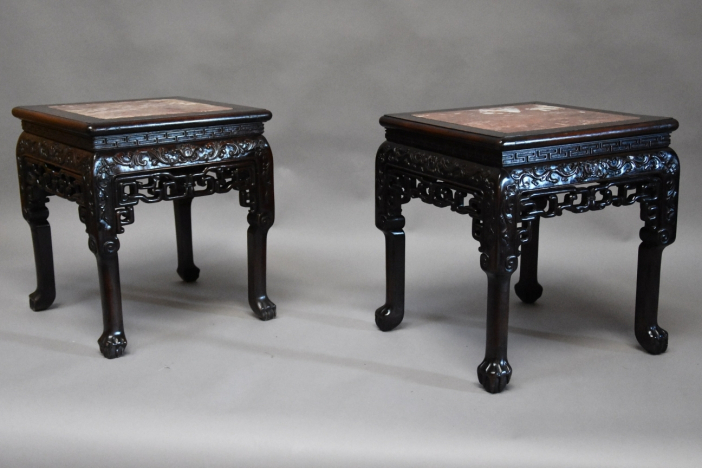 19thc pair Chinese pot stands