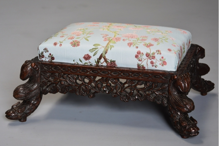 Pair Anglo Indian footstools