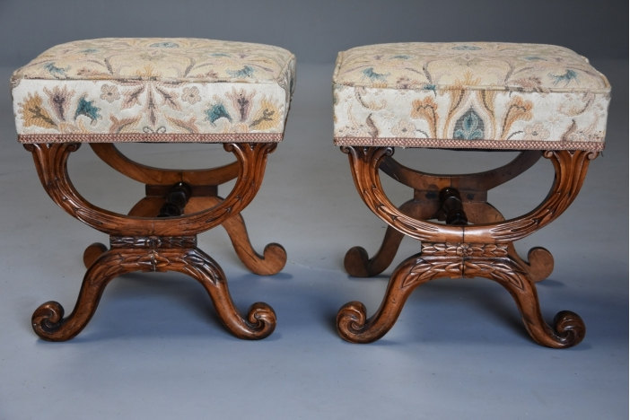 Pair rosewood X frame stools