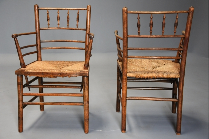 Pair of 19thc Sussex armchairs