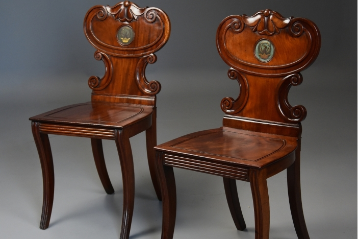 Pair of Regency hall chairs
