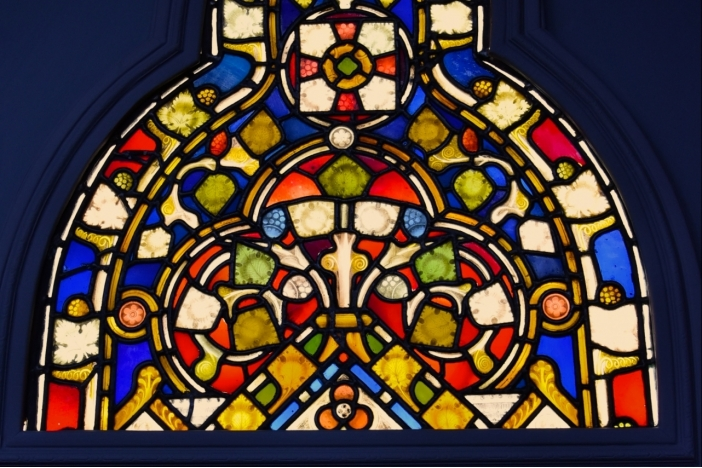 Large stained glass triptych