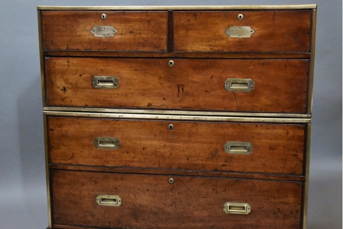 Mahogany military chest