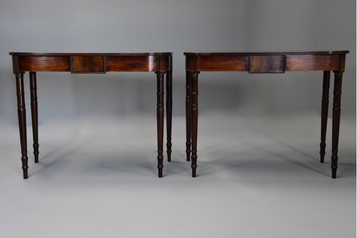Pair mahogany console tables