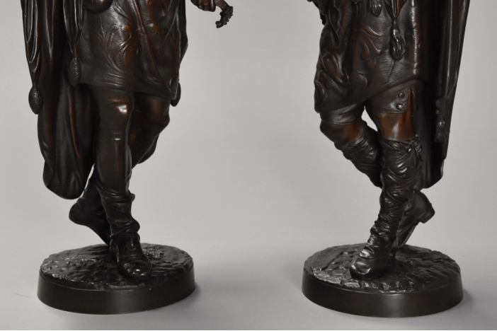 Pair French bronze minstrels